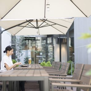 enjoy a meal in the sunshine on KMB's terrace