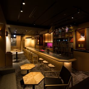 overlooking the lounge area of kanazawa music bar, facing the music booth bar and kaname inn tatemachi reception area