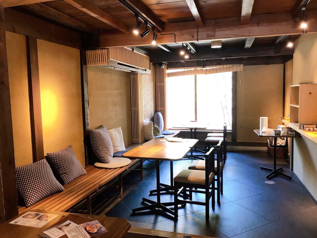 Seating at Cafe Tamon in Kanazawa