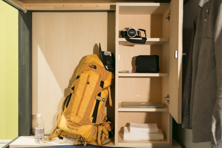 locker and shelf space in hostel in Kanazawa