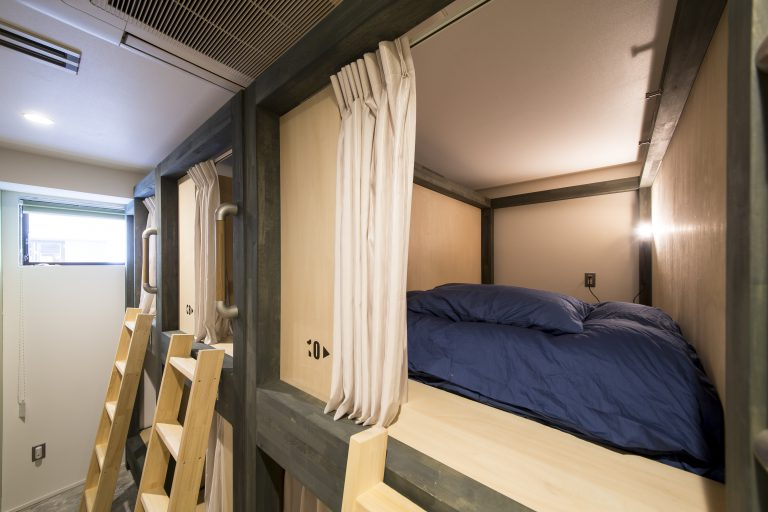 top private bunks at kaname backpacker's hostel
