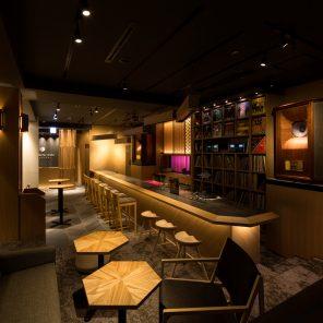 overlooking the lounge area of kanazawa music bar, facing the music booth bar and kaname inn tatemachi reception area