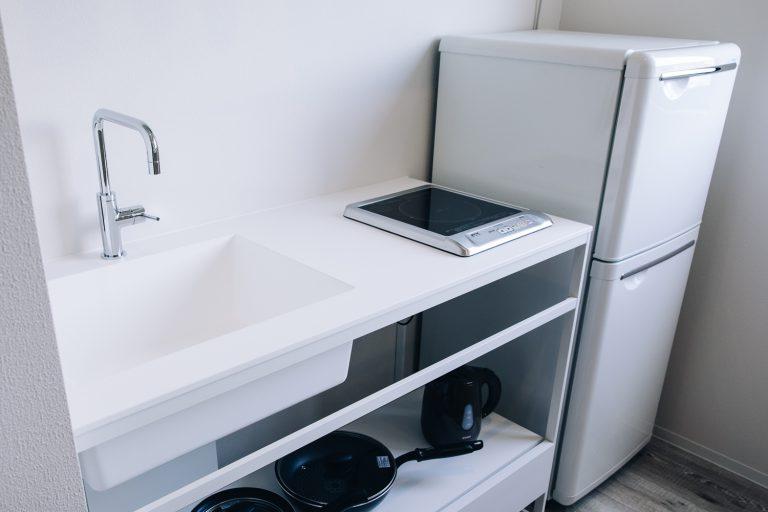 studio suite kitchen area in a Kanazawa hotel
