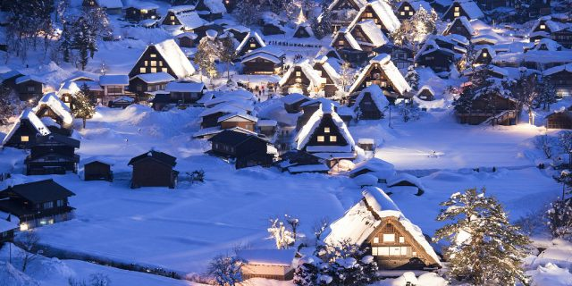 unesco heritage site shirakawa go in winter
