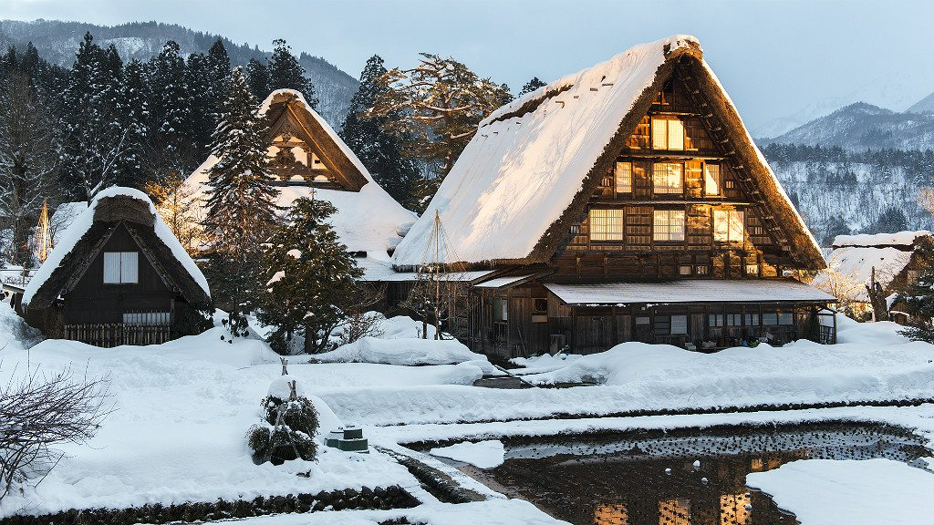 snow traditional japanese gasshou farmhouse at shirakawago