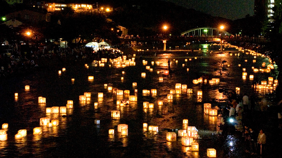 Kaga-yuzen Toro Nagashi, the releasing of lanterns down a river, during the Hyakumangoku Festival in Kanazawa Japan
