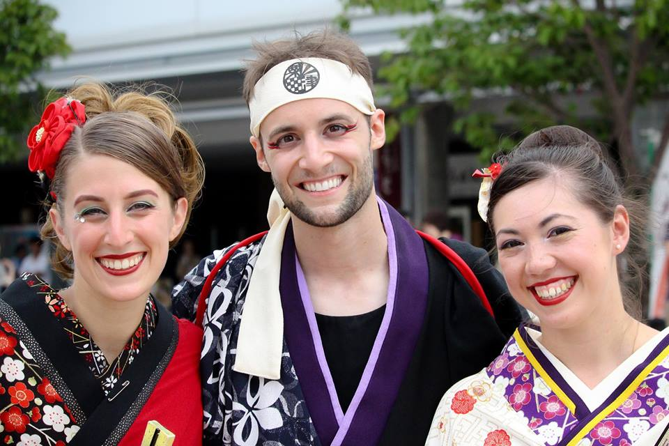 Sarah, Drew, and Jenny; yosakoi, Komatsu, by Tamaya Greenlee