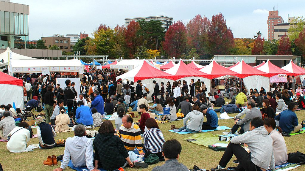 Massive Picnics during October's Sake Marche Festival in Kanazawa Central Park Near the Castle