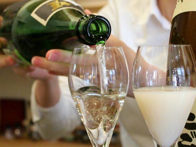 Nihonshu, or sake poured in a tasting glass