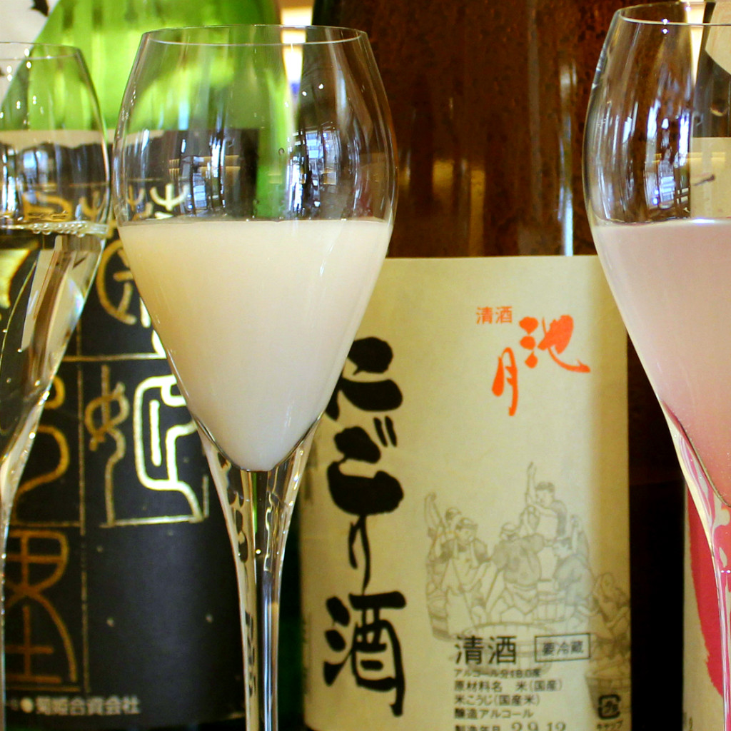 Nigori Sake, an unfiltered nihonshu in Ishikawa is white and tangy
