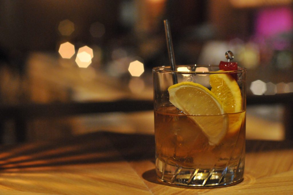 Kaki Old Fashioned, a twist on a classic using persimmon, at kanazawa music bar