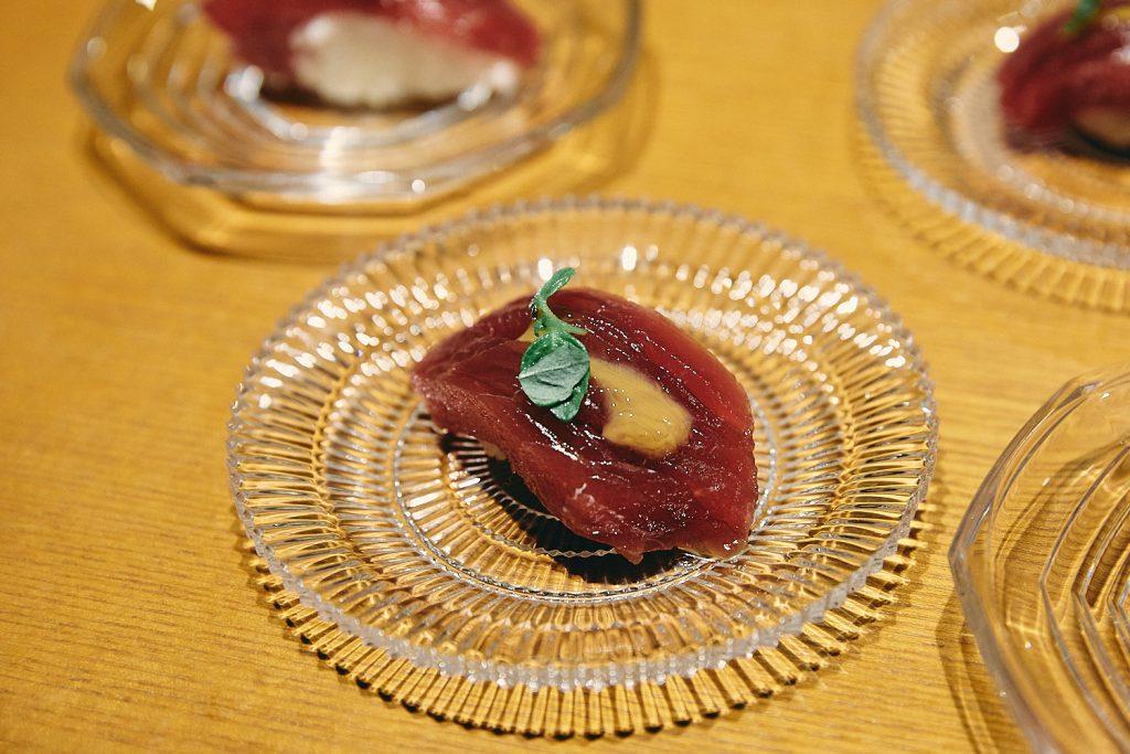 Delicate plates of sushi in Kanazawa's legendary restaurant, Komatsu Yasuke