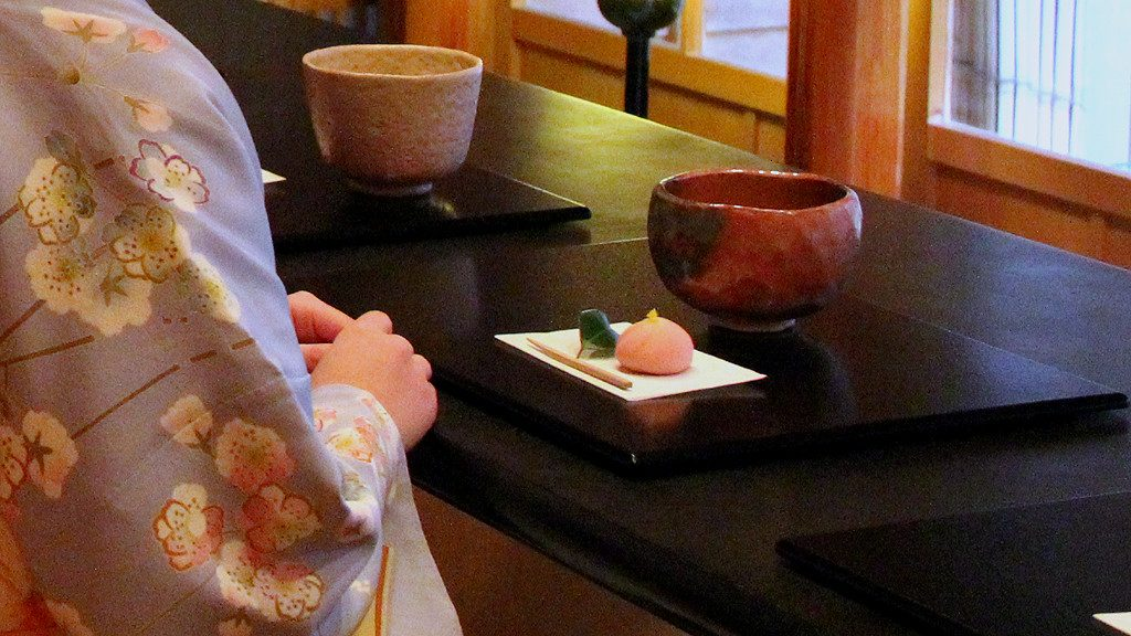 Matcha Tea Served with Wagashi Soft Sweet to Kimono-wearing Person in Kanazawa