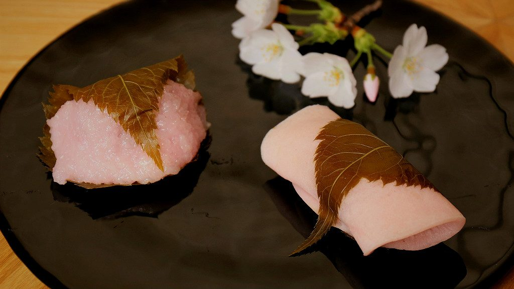 Two kinds of Sakura Mochi for the Cherry Blossom Season in Kanazawa Japan