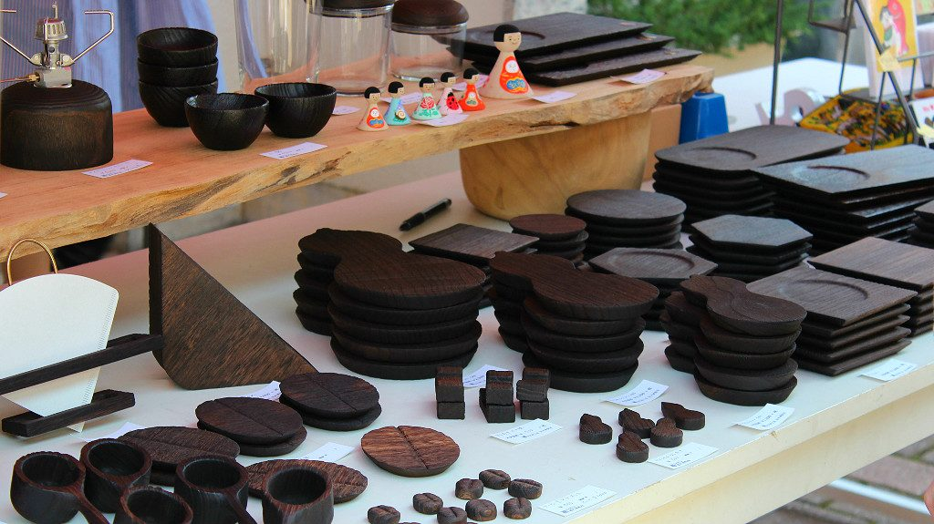 Coffee-stained wood-ware at a booth in Shin Tatemachi's Coffee Campaign in Kanazawa, Japan