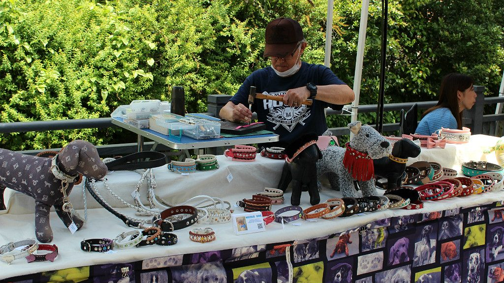 Hand crafted dog collars in a booth at the Seseragi Marriage Festival in Kanazawa, Japan