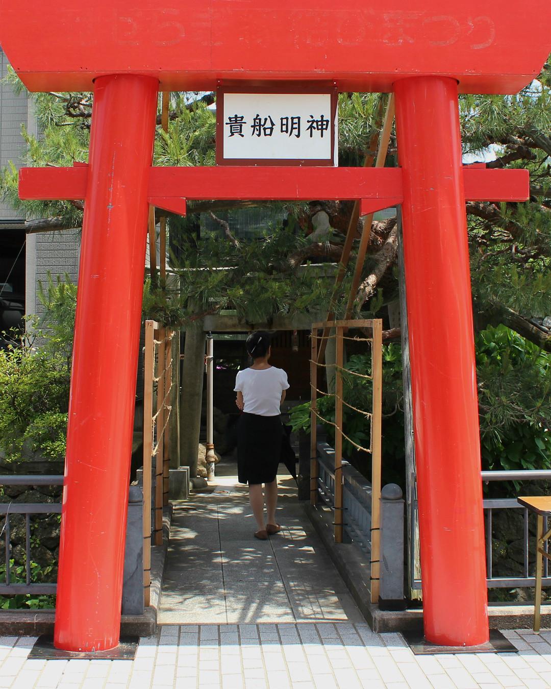 Temporary torii gate at Seseragi Street's shrine in Kanazawa Japan