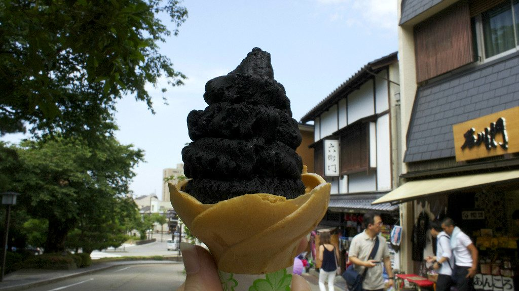 Black Vanilla Ice Cream at Kenrokuen in Kanazawa Japan