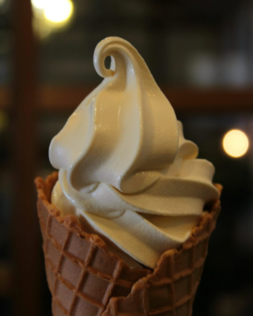 Soy sauce soft serve ice cream by Yamato Soy Sauce & Miso Company in Kanazawa, Japan