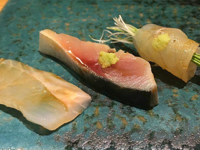 Kuratake sashimi and pickled mackerel, Kanazawa Japan sushi shop