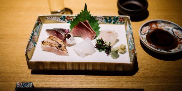 Sashimi plate at Yasaburo, Japanese cuisine in Kanazawa, Japan