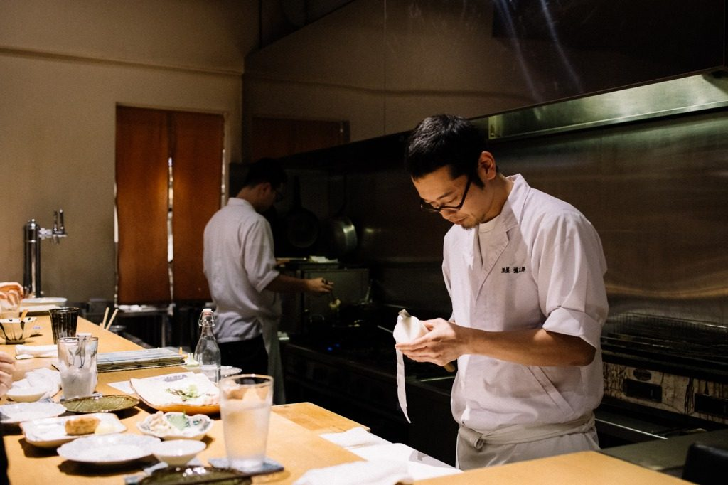 The chef at work at Yasaburo, Japanese cuisine in Kanazawa, Japan