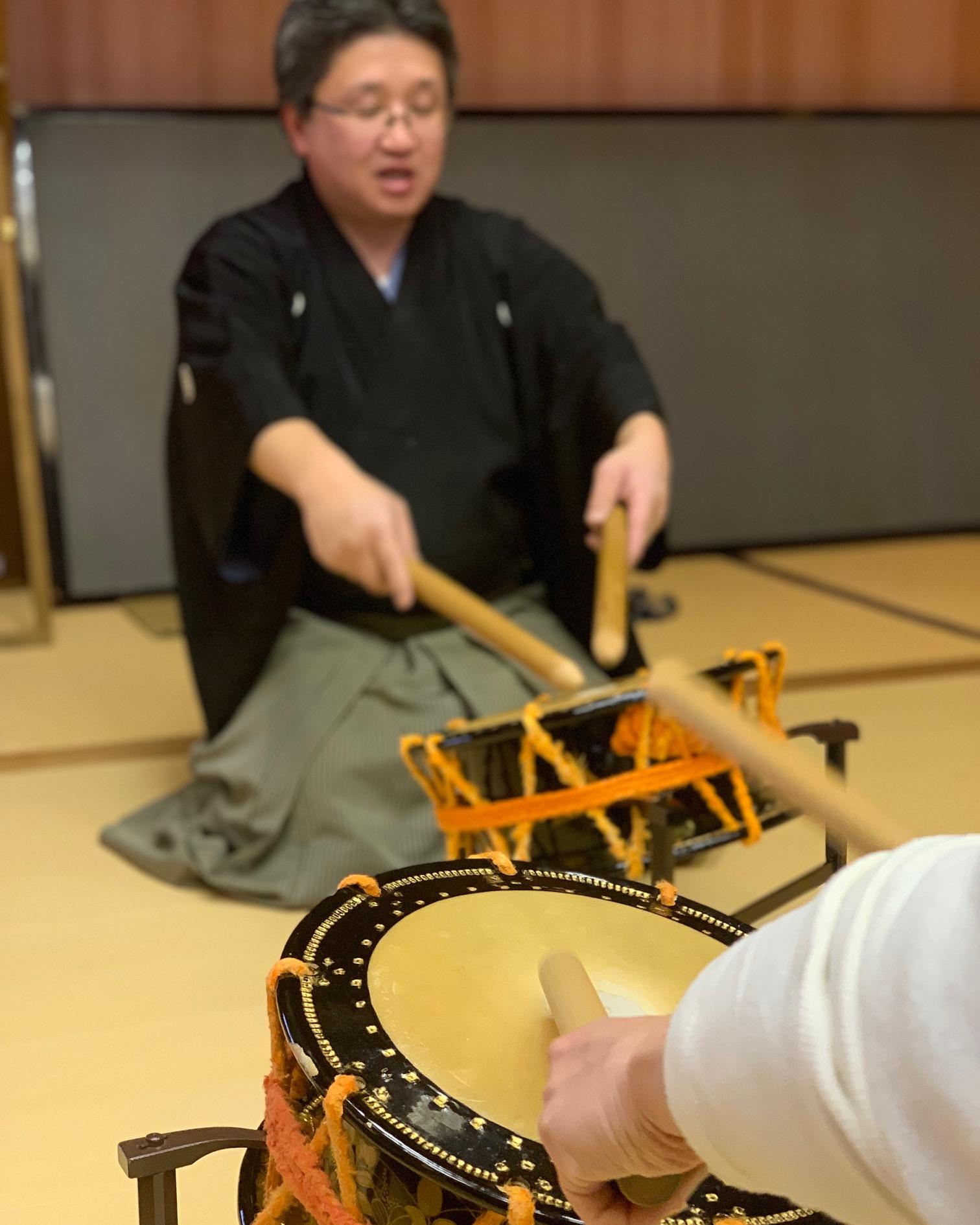 Taiko drum Noh experience in Kanazawa, Ishikawa, Japan