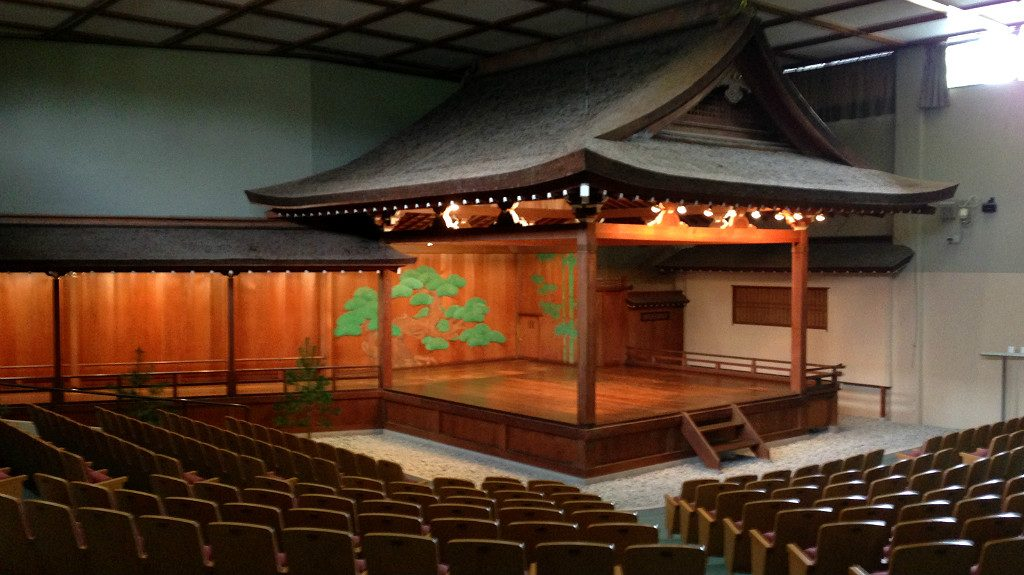 The preserved interior stage at the Ishikawa Prefectural Noh Theatre