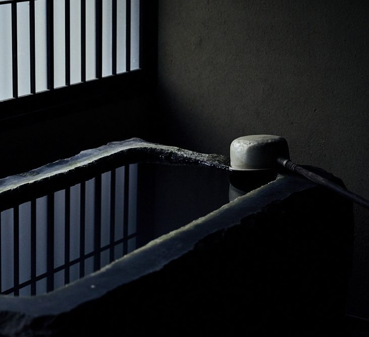 Ladle and washing basin in Yuyado Sakamoto, in the Noto, north of Kanazawa, Japan (hot spring hotel, ryokan)