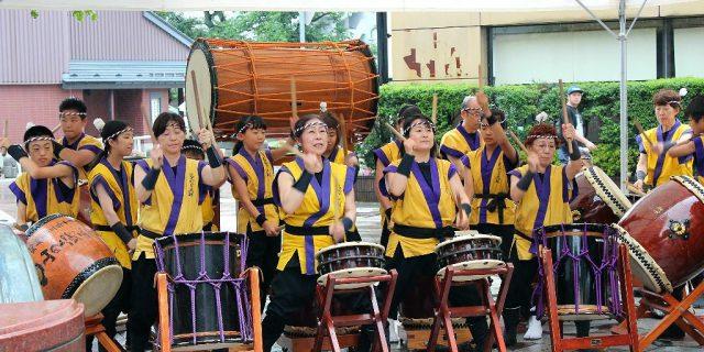 Taiko performance at Kakinokibatake Mizukake Festival in Kanazawa, Japan