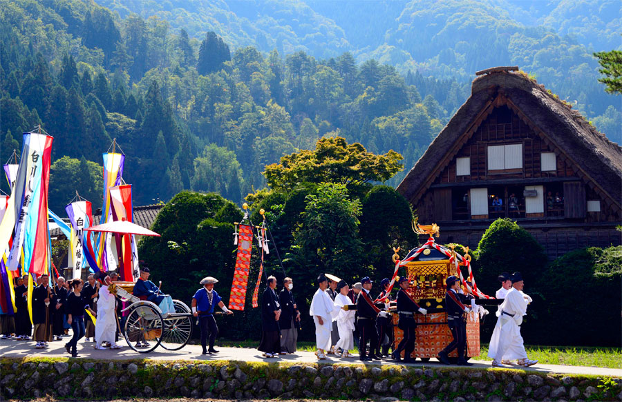 The parade for the Doburoku Festival in Shirakawago