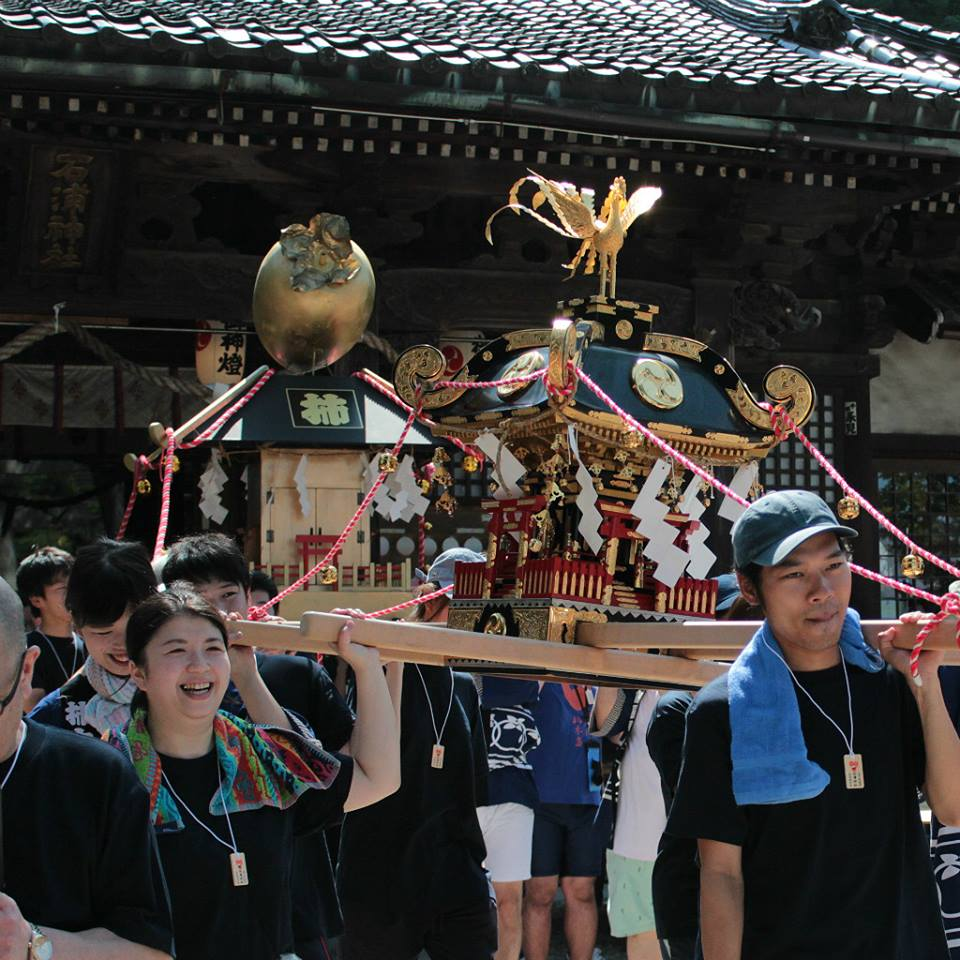 Mikoshi shrines depart from Ishiura Shrine in Kanazawa