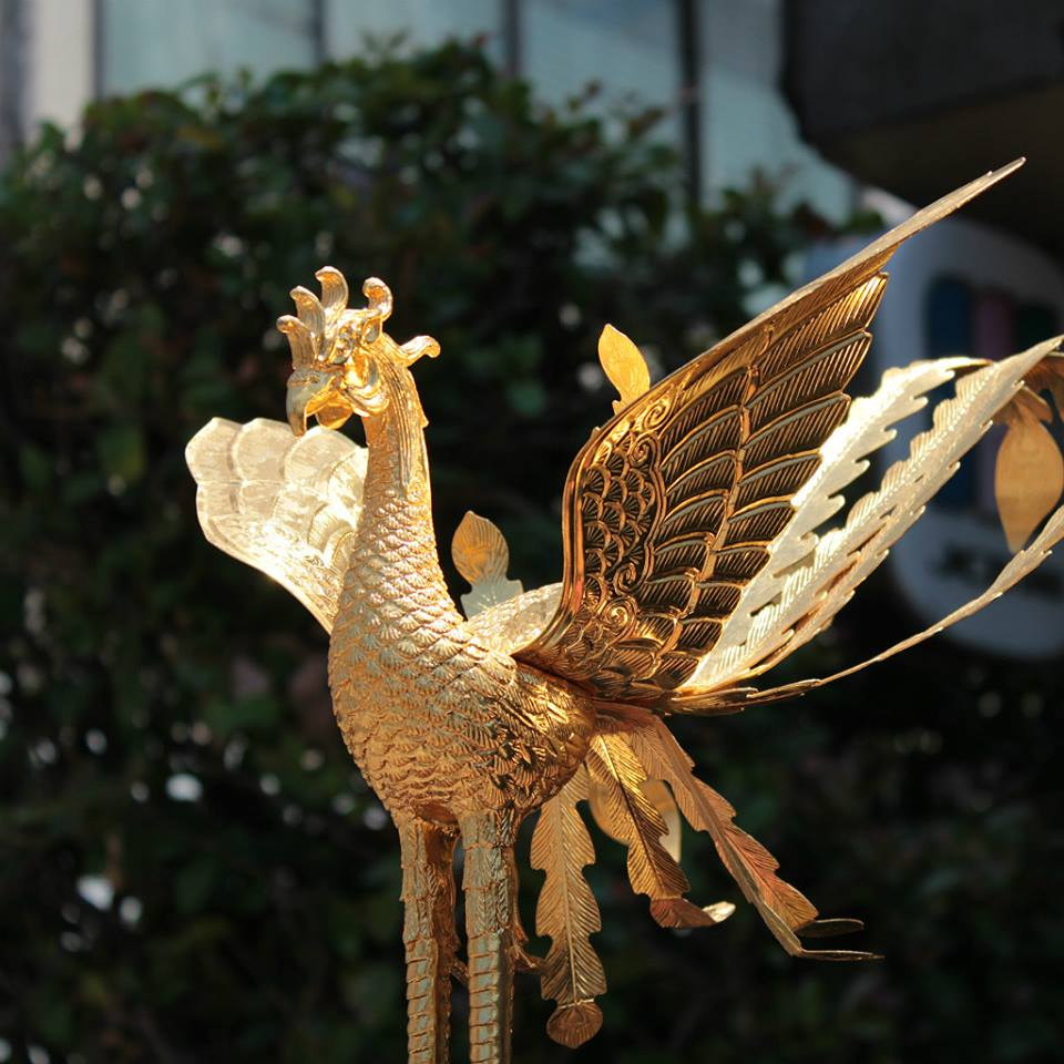 The mythological phoenix atop a mikoshi shrine in Kanazawa