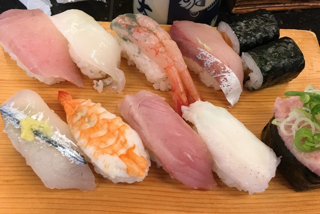 Chef's choice of sushi at Ponta Sushi in Kanazawa, Japan, by Aaron Mannino