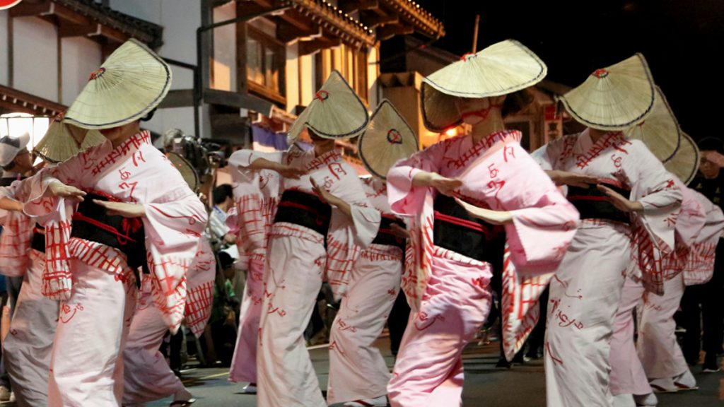 Owara Kaze no Bon street dances at night