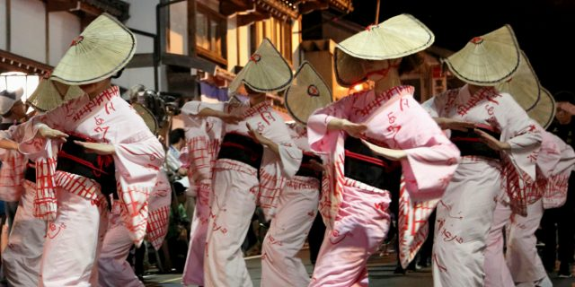 Owara Kaze no Bon street dances at night