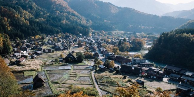 View of Shirakawa-go from the observation point.