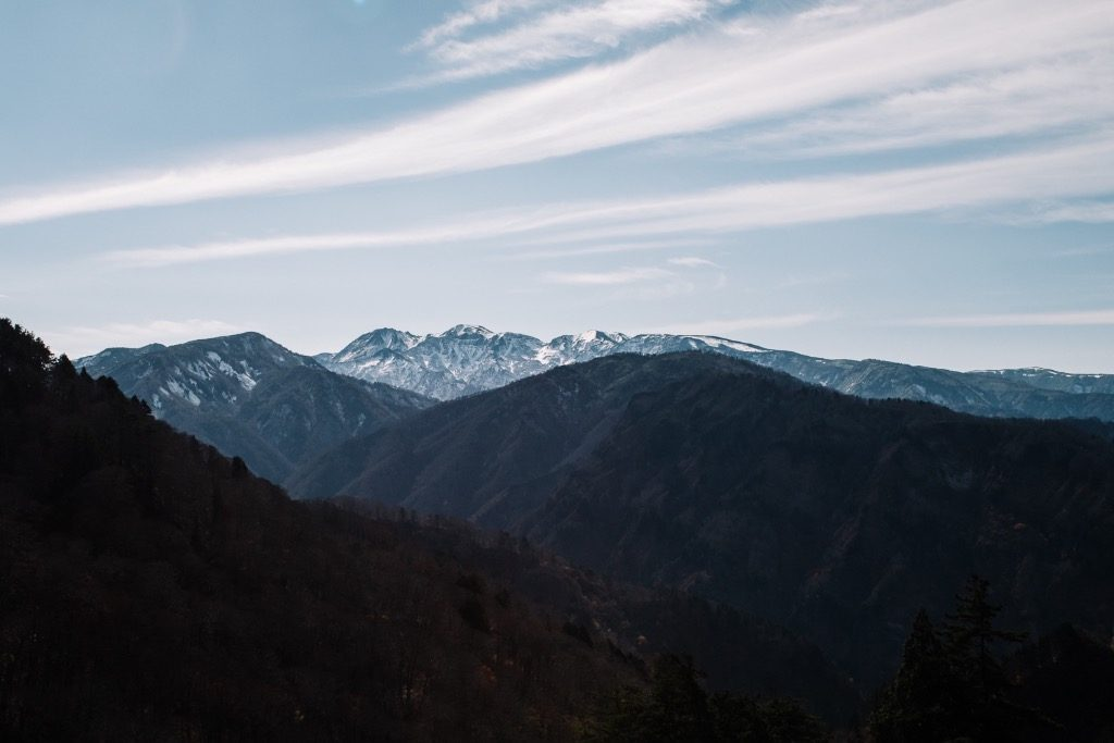 The Japanese Alps of west Japan along the White Road, the highway to Shirakawa-go