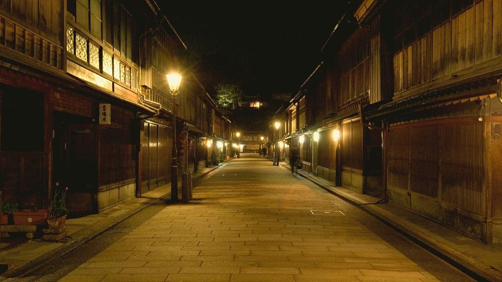 Higashi Chaya District Lit up at Night in Kanazawa, Japan