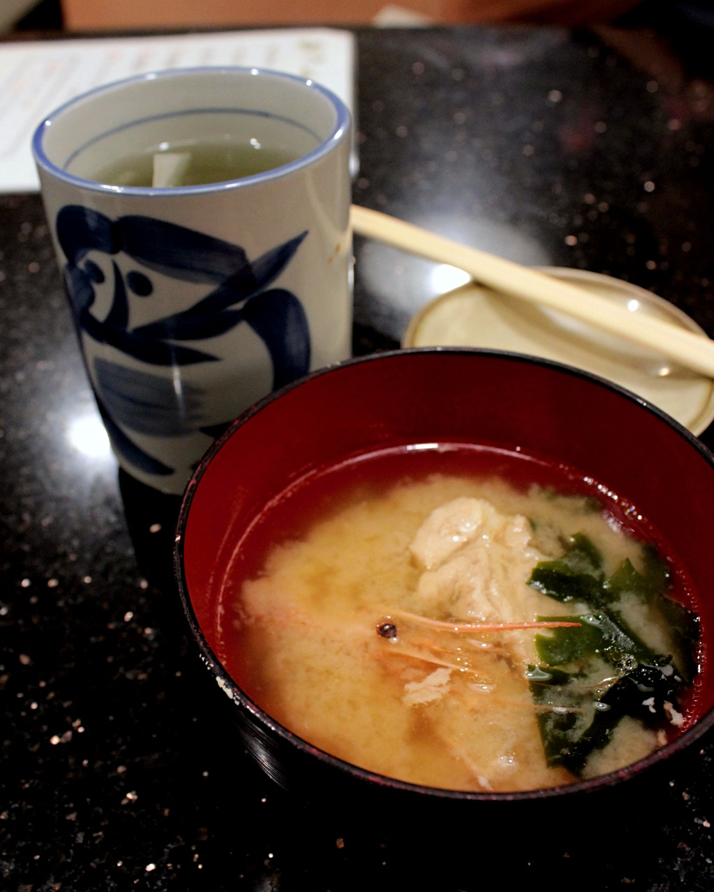 Seafood miso soup at Ponta in Kanazawa, Japan