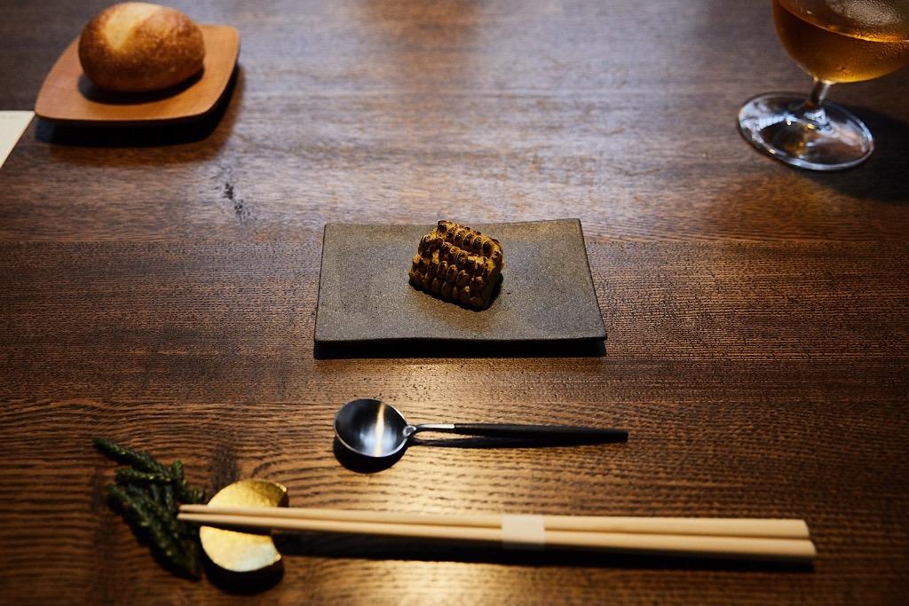 Charred corn paste at YArn in Komatsu