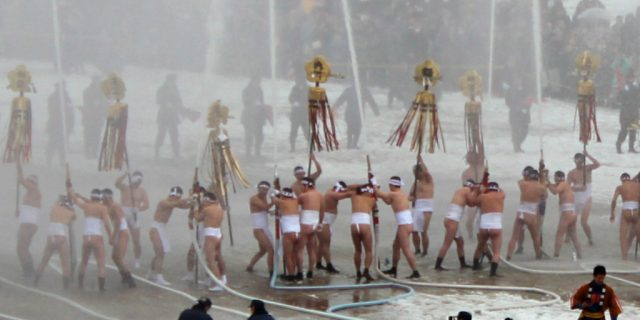 Happy New Year, Kanazawa, Japan. (Kaga Firefighting event in the snow, Dezome Shiki)