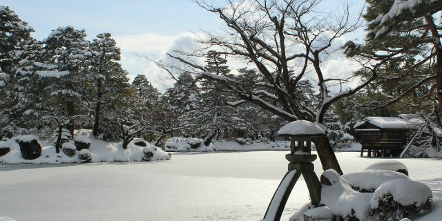 Winter at Kenroku-en, snow, in Kanazawa, Japan