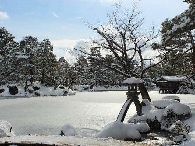 Winter at Kenroku-en, snow, in Kanazawa, Japan