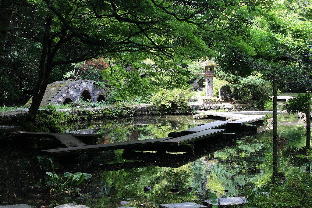 The garden of musical instruments at Oyama Shrine, in Kanazawa, Japan