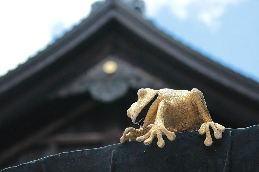 Gold leaf frogs, one of many artistic touches around Oyama Shrine in Kanazawa, Japan