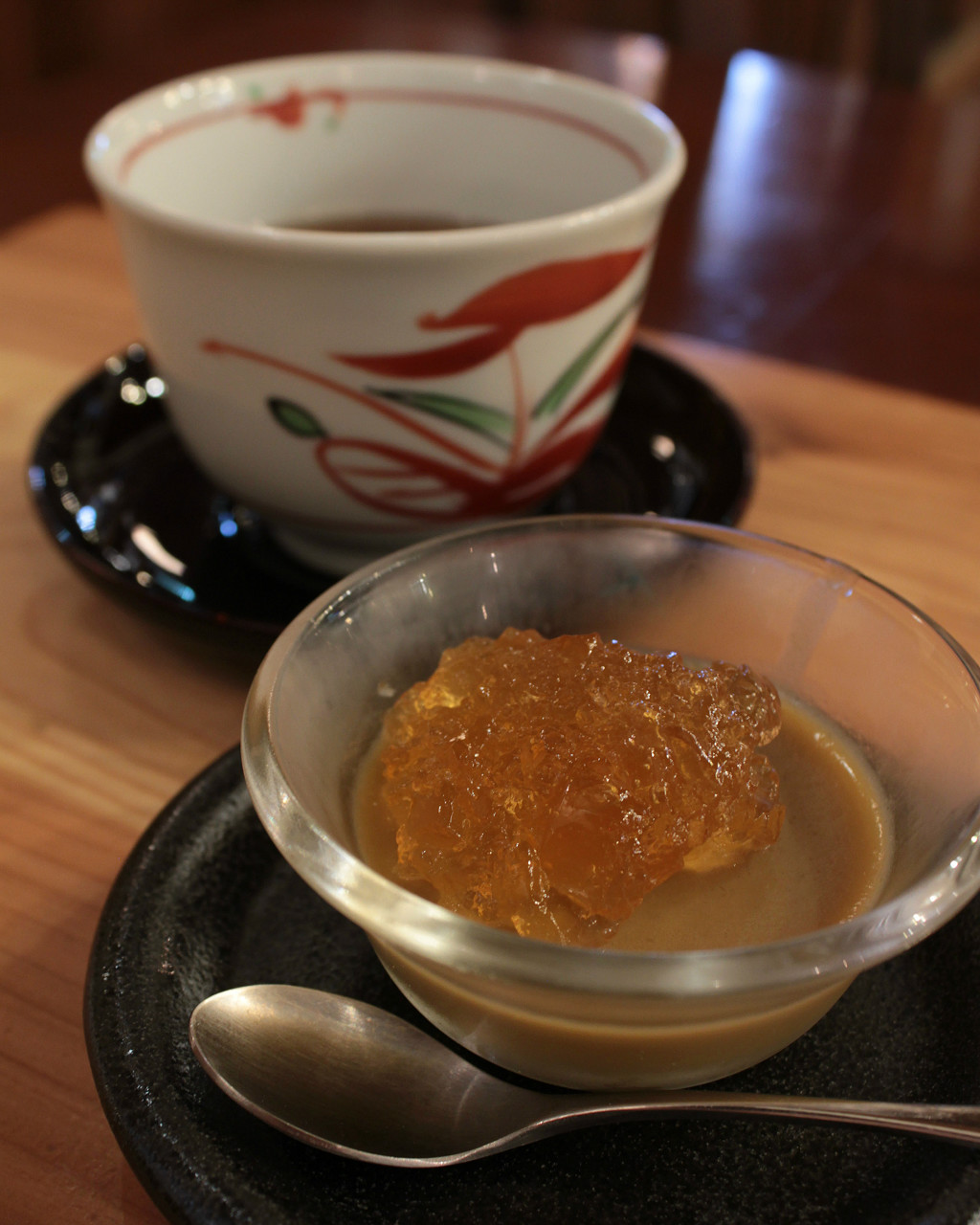 Sweet koji jelly dessert with tea at Kouji Park's bar in Ono, Kanazawa, Japan
