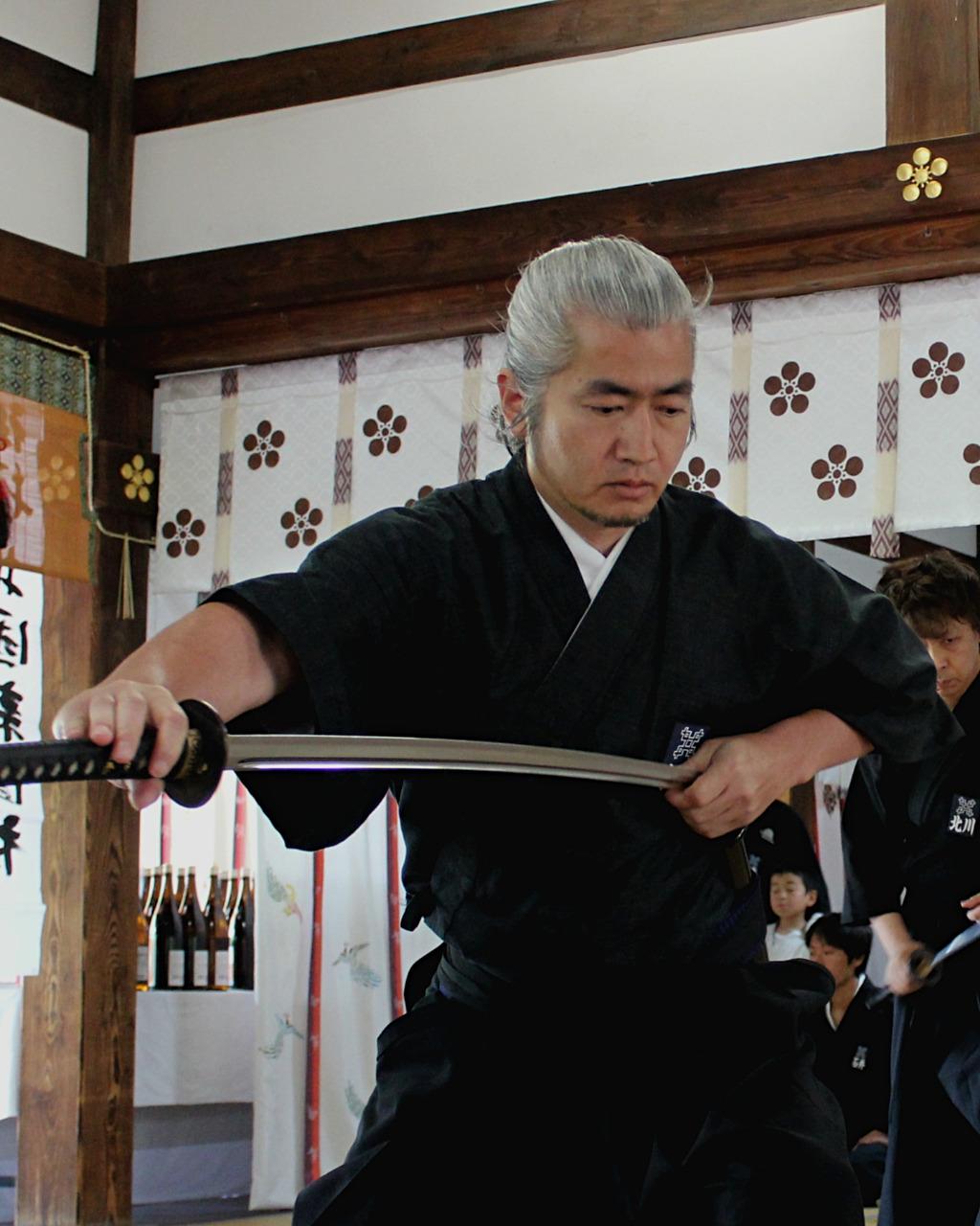 Iaido, sword drawing, at Oyama Shrine in Kanazawa, Japan