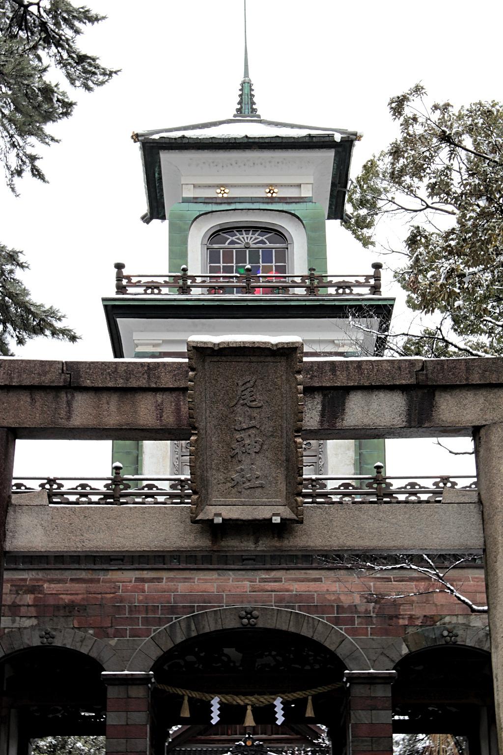 The stain glass front gate of Oyama Shrine in Kanazawa under snow