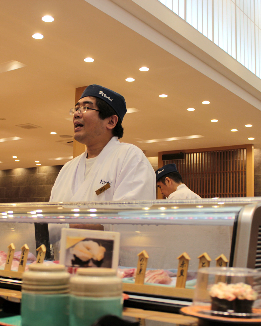 Chef at Sushi Kuine, a sushi train restaurant in Kanazawa, Japan